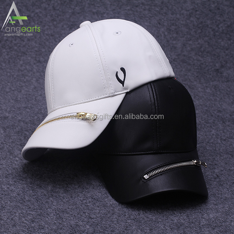 PU leather promotional baseball cap adjustable strap 6 panel flat brim hat and cap with patch label promotion