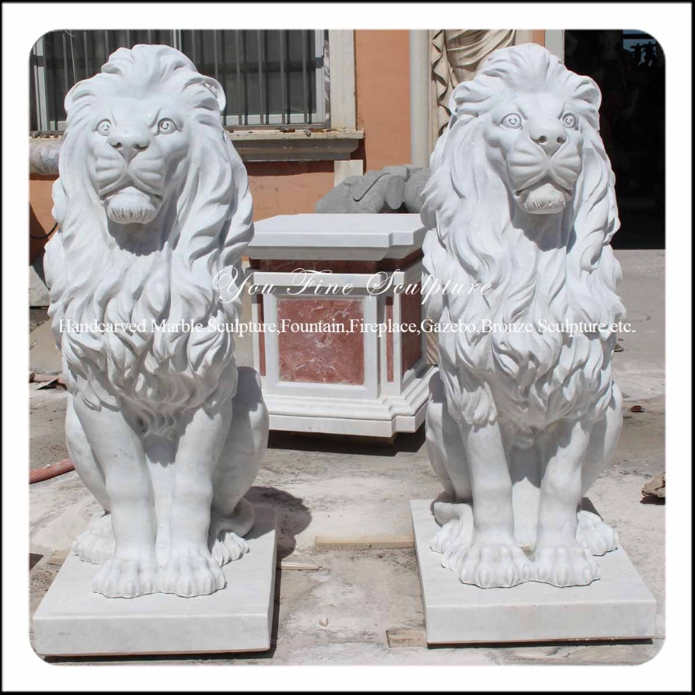 Life Size Majestic White Sitting Lion Marble Statue