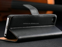 Genuine Leather Right Open Case for iPhone5 Wallet Cover Black with Stand Design