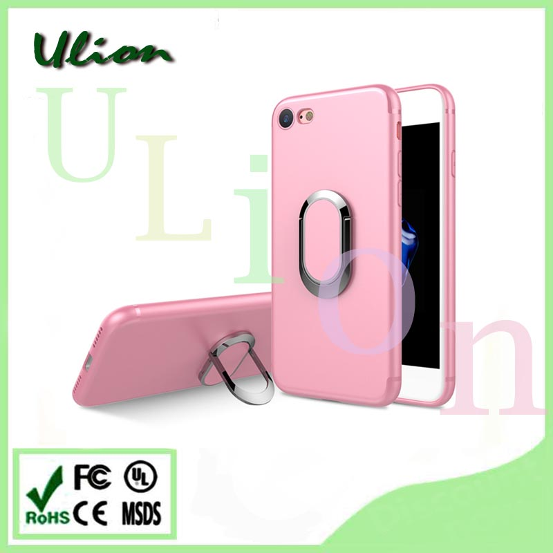 Finger Ring Buckle Stand Hybrid Hard Case For iphone 7plus Retractable Luxury PC Holder Soft TPU Silicone Dual Skin