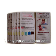 Drive safety disposable breathalyzer alcohol test paper