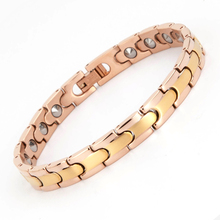 Latest design magnetic 99.999% germanium rose gold 22K gold plated stainless steel tungsten bio energy health bracelet jewelry
