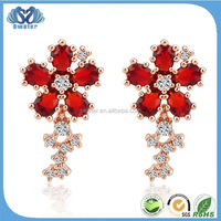 Hot Product 2015 Ruby Flower Permanent Earrings