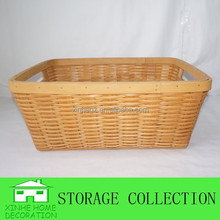 rectangular handwoven solid wood basket with insert handle
