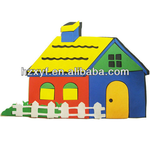 cartoon house stickers eva wall stickers for kids