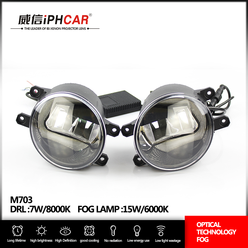 IPHCAR Waterproof Angel Eyes Drl Led Fog Lamp Projector Fog Light for Toyota