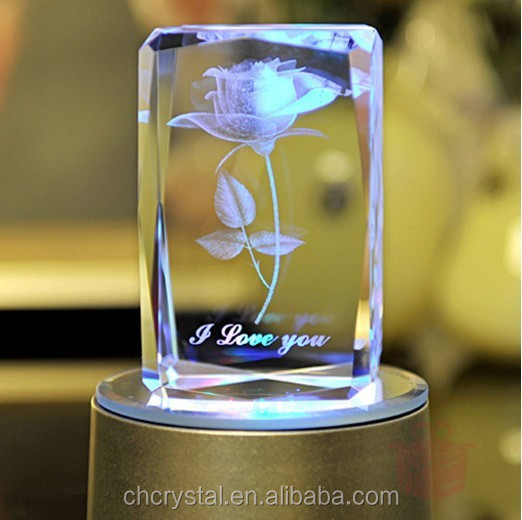 3d laser etched glass cube MH-F0123
