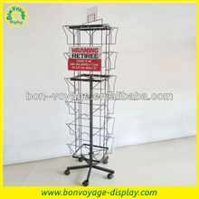 retail flooring rotating metal spinner greeting card display rack