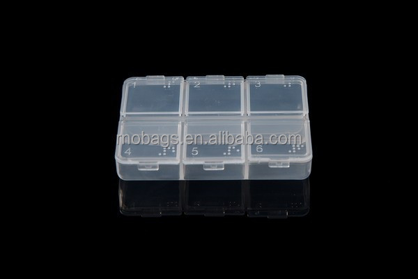 travelling plastic transparent 6-day pill organizer container box