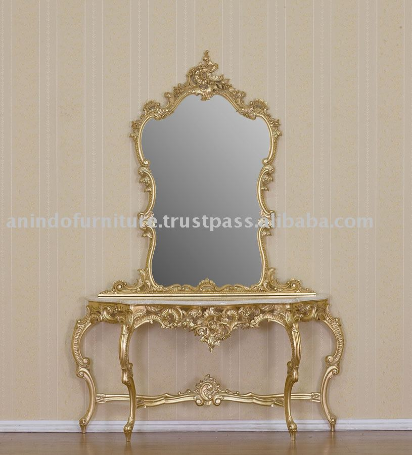 Gold Furniture - Gilt Marble Console Table with Mirror