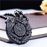 Natural Obsidian Dragon Gossip Mirror Pendant