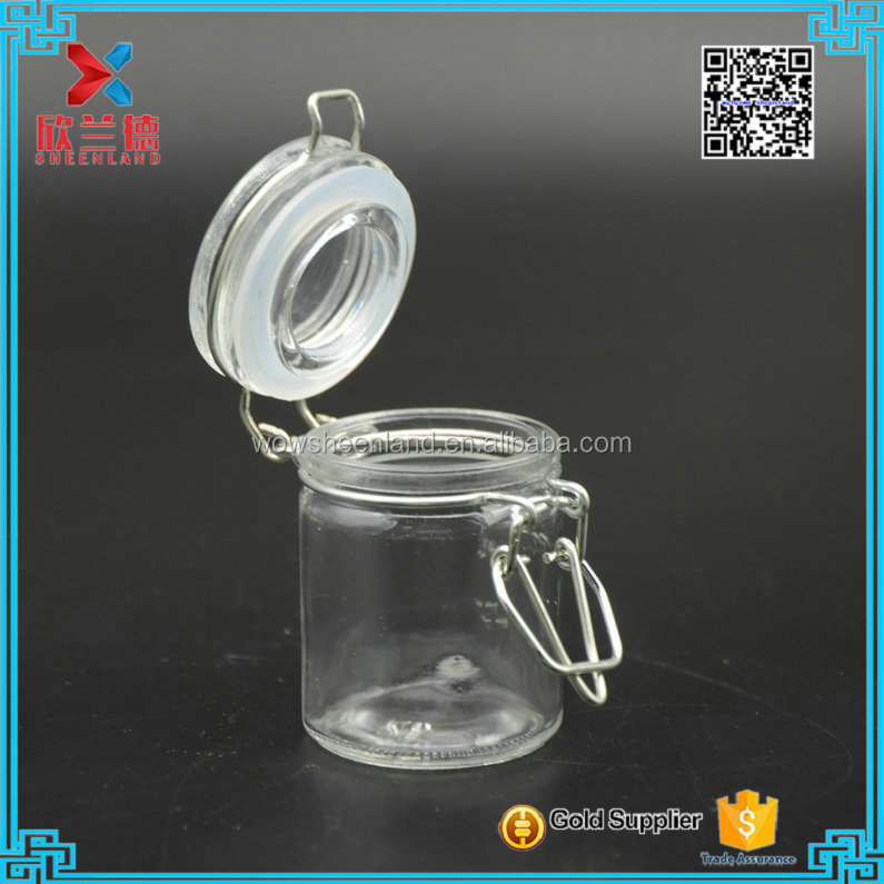 In Stock mini 50ml Glass clip lock jar bottle,Cookie jar,biscuit jar
