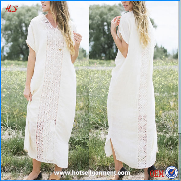 New Arrival Korean Clothes High Fashion Ladies Western Dress Design Sheer White Dresses For Women With Crochet Lace Down