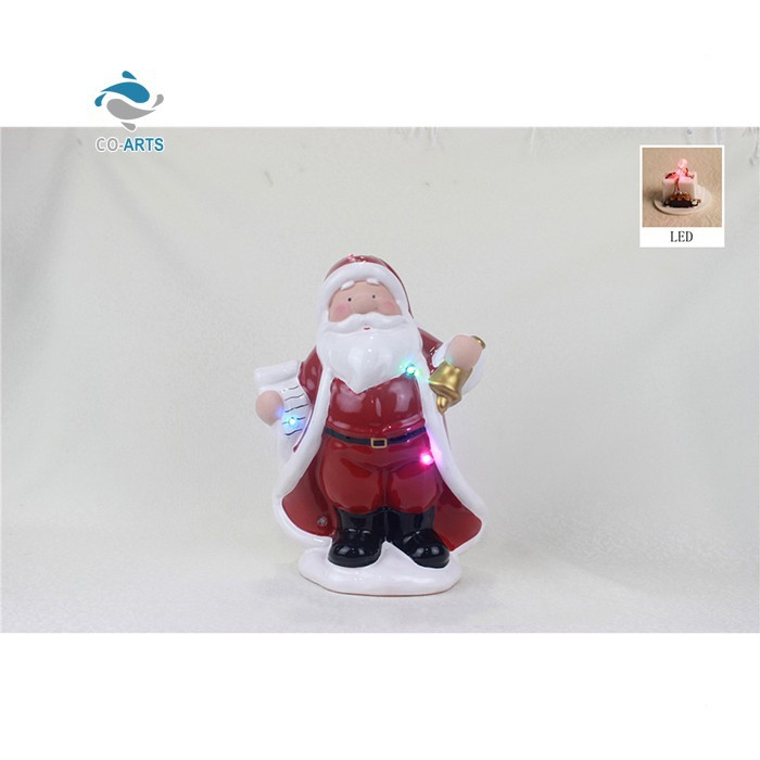 Unique design LED christmas decoration craft handmade ceramic