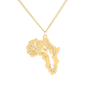 Fashion Stainless Steel Africa Map Necklace Creative Hollow Tree of Life Pendant Wholesale