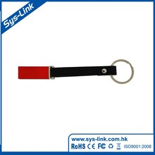 Aluminum case with leather strip and keyring usb flash drive