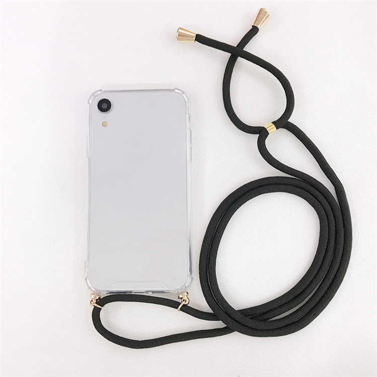 Shockproof Crossbody Necklace Transparent Clear Cell Phone Chain Case with Shoulder Strap For iPhone 6 7 X XS Max XR 7 plus