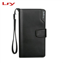Luxury Brand Business Men Wallets Long PU Men's Leather Cell Phone Clutch Purse Handy Bag Black Top Zipper Large moneybag