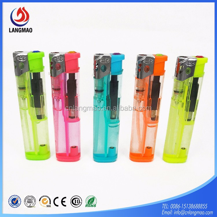 Hot quality refillable candy colors windproof butane gas plastic flint electronic fire lighter