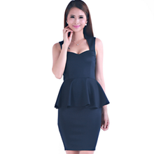 short sleeve mini OEM service sweetheart two piece flounce waist hip packing pure career ladies designer office dresses
