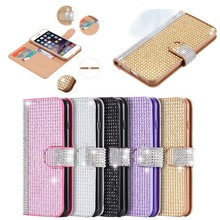 luxury full body bling diamond flip leather wallet case for iphone 5s 6 6s plus,stand holder case for iphone 6s card slots