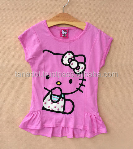 Girl's Short sleeve T-shirt patterned pink kitty. 100 %Cotton From Thailand
