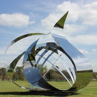 large modern mirror abstract stainless steel outdoor sculpture