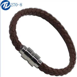Single Braided Leather Metal Snap Clasp Bracelet Fits Fit All European Charm Bead