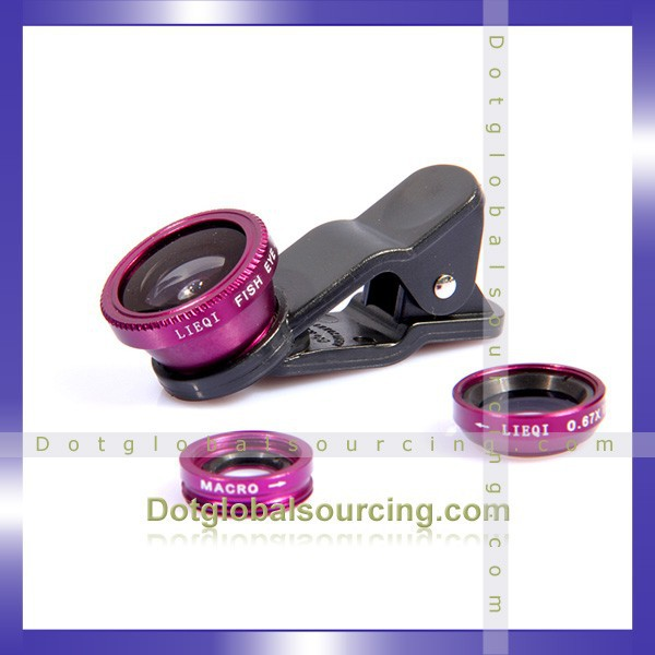 Universal Wide Angle Macro Fish Eye Mobile Phone Camera Lens,Cellular Phone Lens,Universal Clip Lens 3 in 1