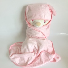 Anti-bacterial organic bamboo terry hooded baby towel with ears in 500gsm