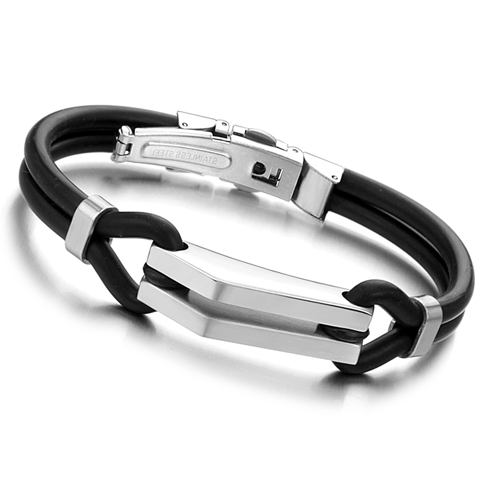 Stock Cheap high quality fashion mens silicone bracelets with stainless steel clasp