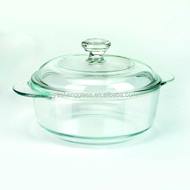 Small round heat resistant glass casserole with glass handle
