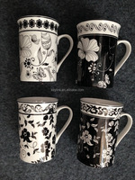 white and black flower design new bone china mug