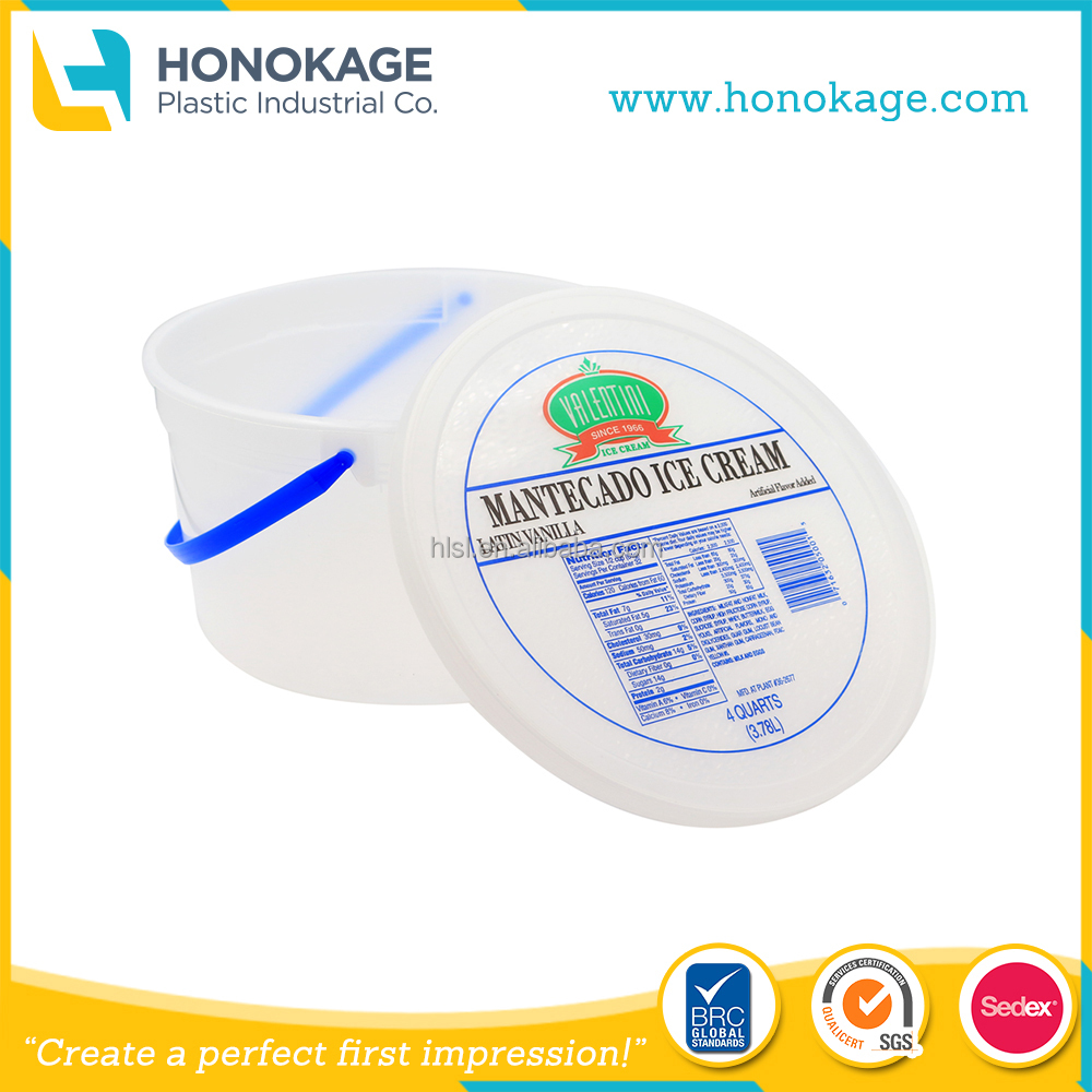 IML Thin Wall Injection Molding Tamper Evident 3 Gallon Ice Cream Container,Frozen Food Packaging Tub