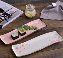 Hotel &restaurant ceramic Color glazed Rectangle decal Sushi/Fish Plates/dinner plate