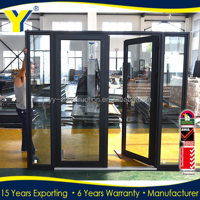 10 years warranty Wind load resistant aluminium french door to USA tempered glass front door_aluminum french doors