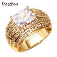 China Factory Price Pave Setting CZ Luxury Marriage Gift 18K Gold Ring Jewelry Plated