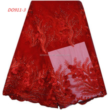 Red Color High Quality French Bridal Lace Fabric Beaded Fringe Trim 3D Lace Fabric 2017 High Quality Lace 863