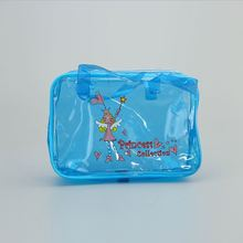 High quality promotional cartoon style clear custom color school kids pvc zipper student pencil bag with handle