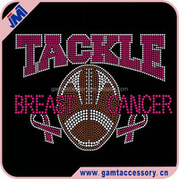 Tackle Breast Cancer Rhinestone Iron On Transfer
