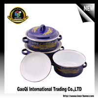 Multi size colorful porcelain enamel pot Casserole cookware sets with lid