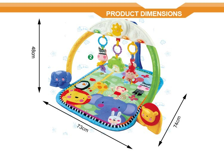 Multifunctional safety and comfortable tracking lights musical baby play gym mat
