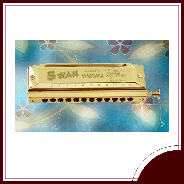 SWAN 12 hole 48 tone chromatic golden harmonica with thick reed plate)