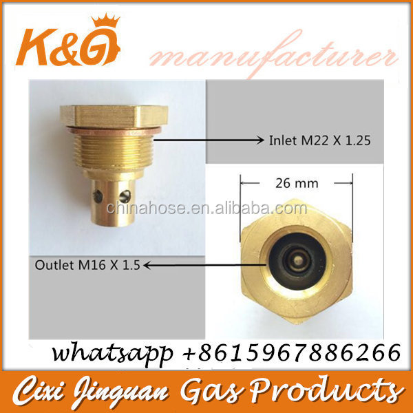 LPG Brass Camping Valve Inlet M22 Outlet M16 for 6kg Gas Cylinder Repairing