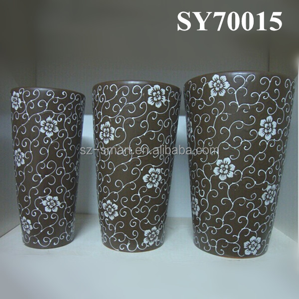 Unique brown ceramic plant pots wholesale