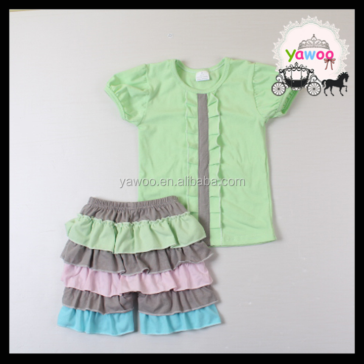 2016 short sleeve tops ruffle petti shorts set bangkok manufactures children clothes wholesale kids clothing kids clothes set