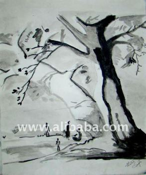 Black & White Trees Paintings