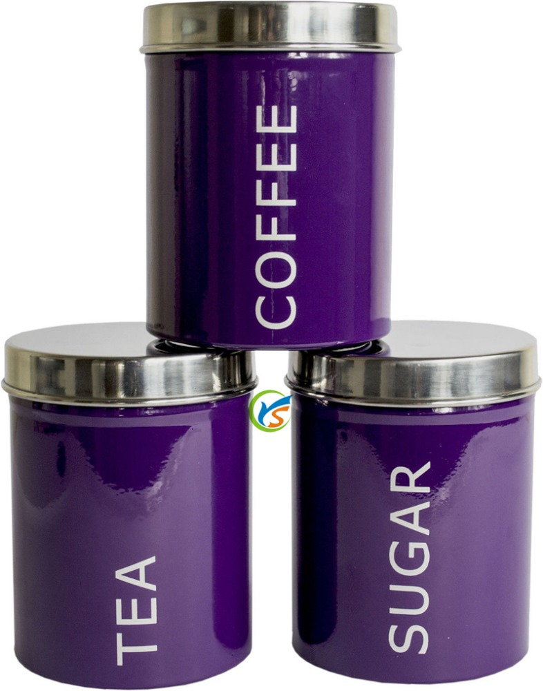 metal purple round tea coffee sugar kitchen canisters set