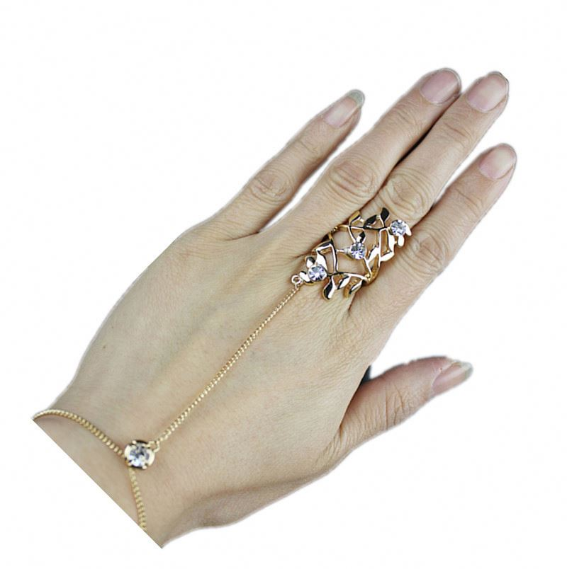 New design Bracelet Finger Ring Diamante Flower-Shape RingSlave Chain Link Hand Chain