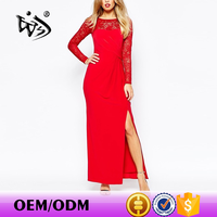 Popular lady clothing fast samples high split lace long sleeve dress stitching designs red dresses maxi evening dress
